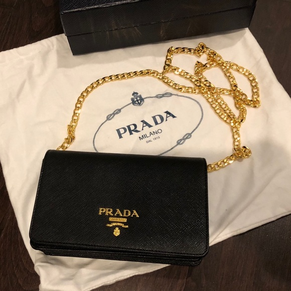 6f352a36d2c69f Prada Bags | 100 Authentic Black Bag With Gold Chain | Poshmark